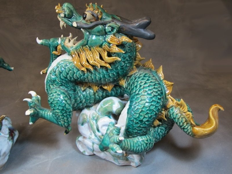 Old Chinese pair of ceramic dragon statues - 3