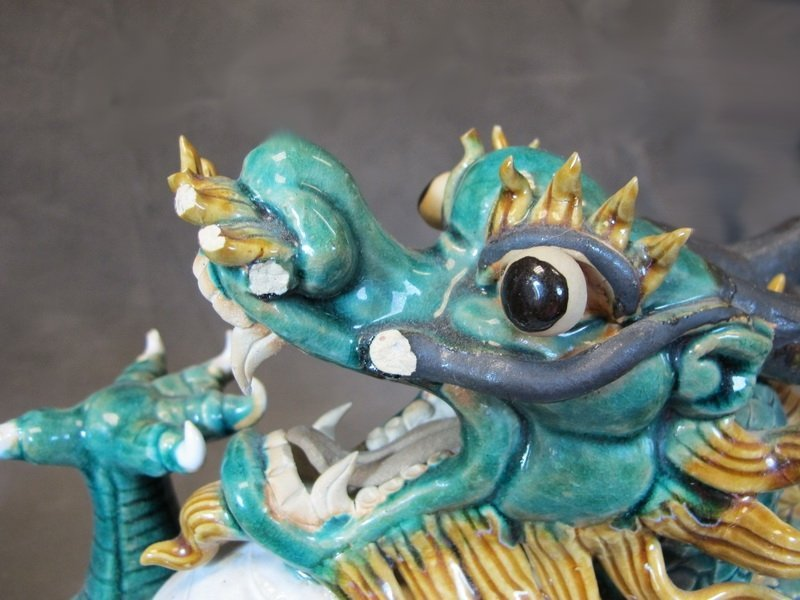 Old Chinese pair of ceramic dragon statues - 4
