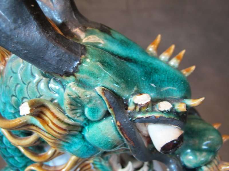 Old Chinese pair of ceramic dragon statues - 5