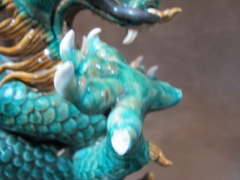 Old Chinese pair of ceramic dragon statues - 6
