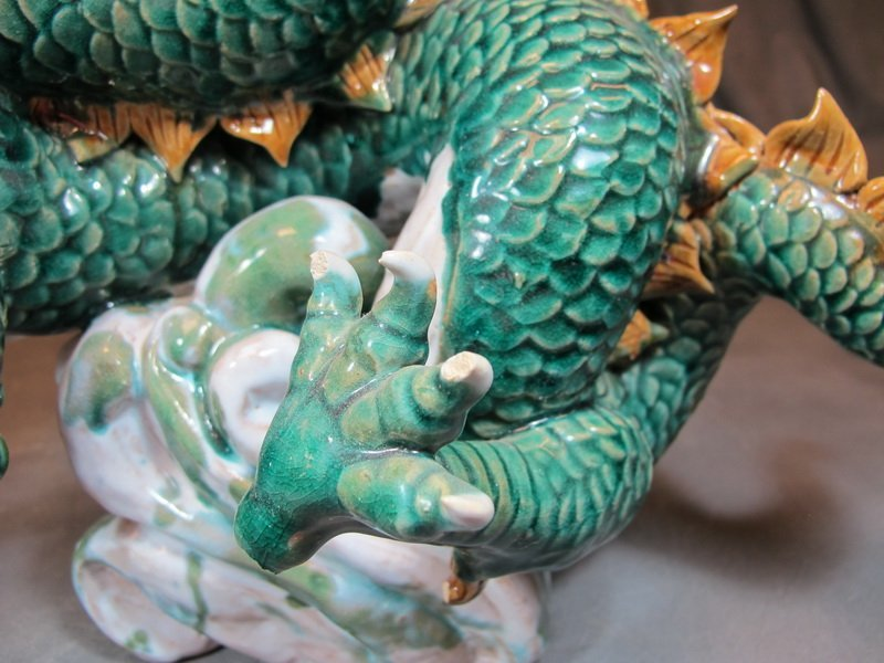 Old Chinese pair of ceramic dragon statues - 8