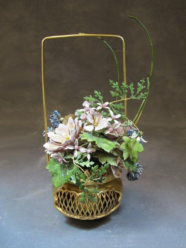 Mottahedeh design brass & porcelain vase, India