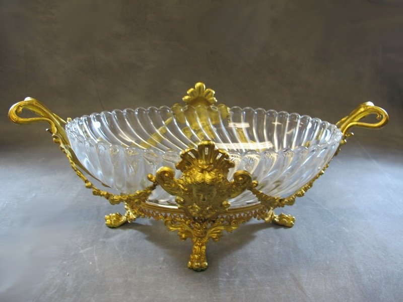 Old European gilt bronze & glass centerpiece