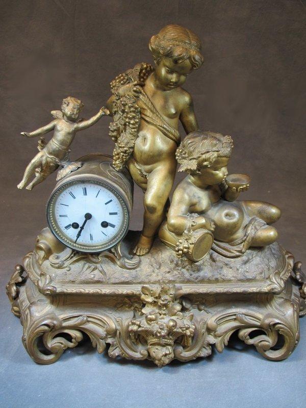 Antique French gilt spelter clock, Mulet-Paris