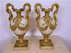 19th C French pair of marble  bronze urns