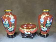 Old Chinese set of cloisonet vases & bowl