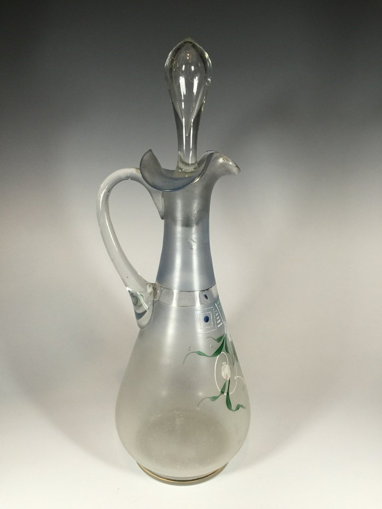 Old European hand painted glass pitcher