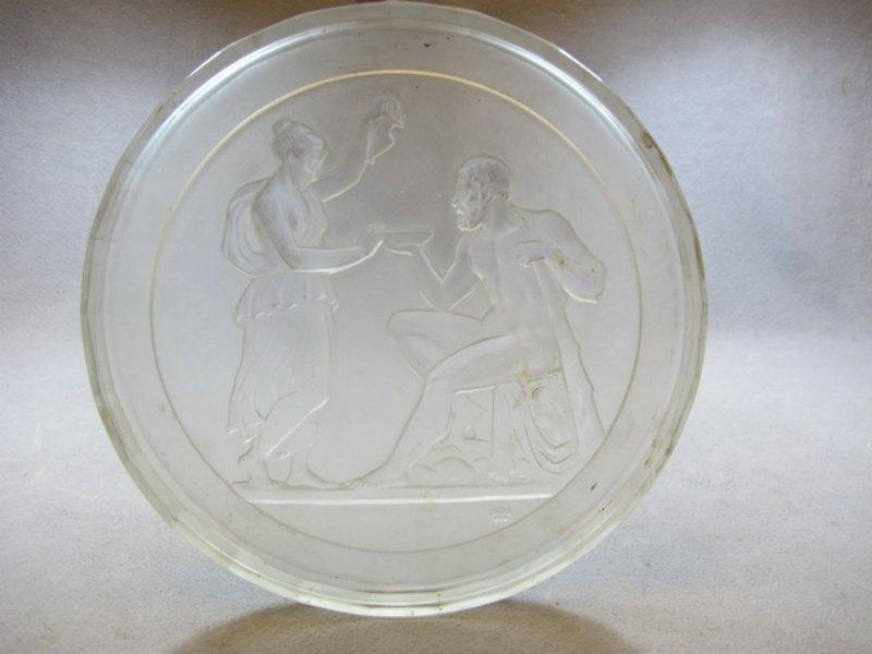 Antique European glass plate