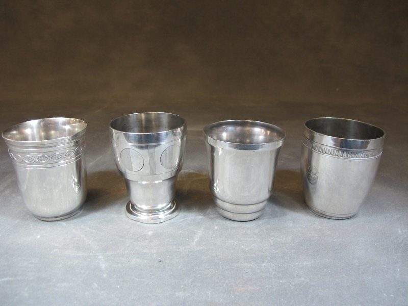 Antique French Cristofle and others silverplate cups