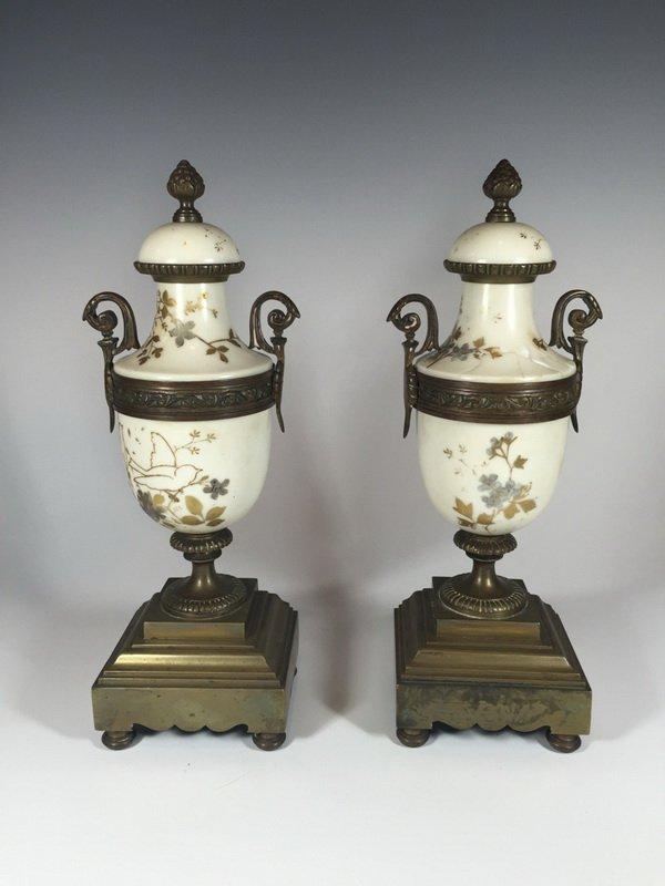 European pair of bronze & porcelain urns