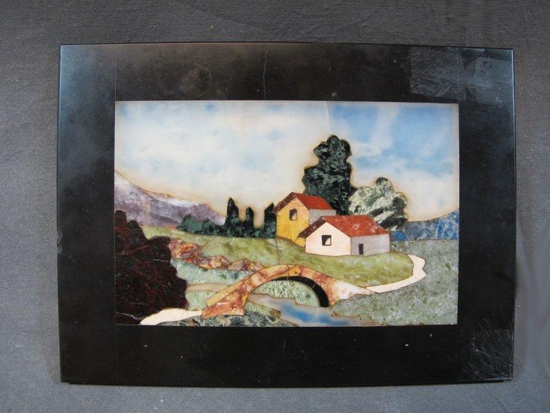 Old Italian pietradura landscape plaque