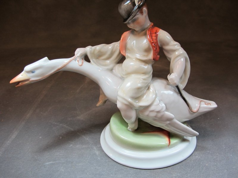 Herend, Hungary porcelain boy & swan statue