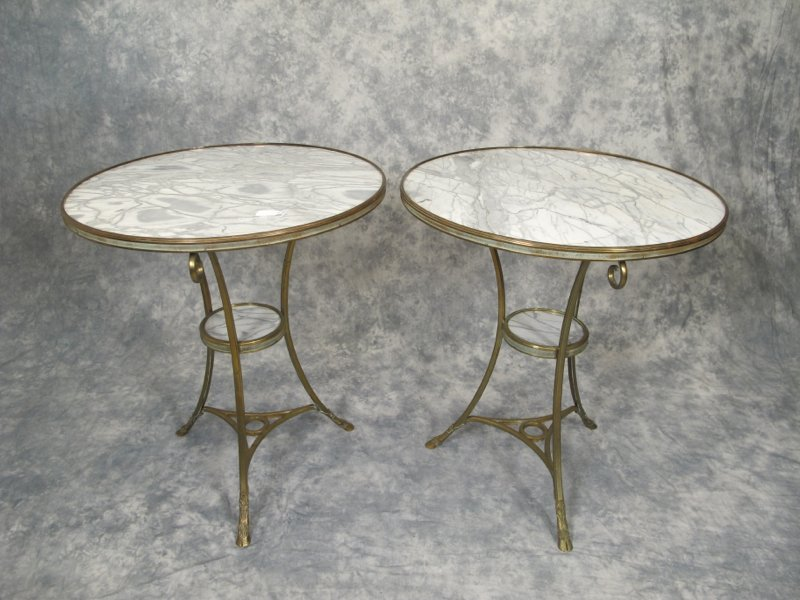 Old pair of bronze & marble round tables