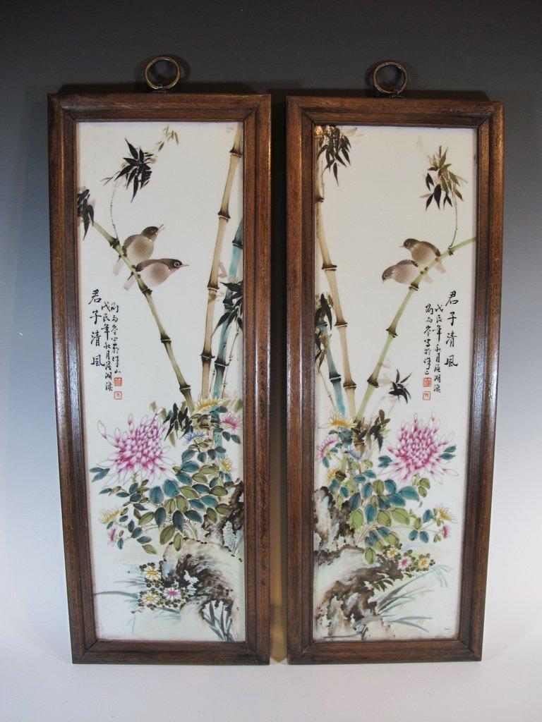 Old pair of Oriental porcelain plaques