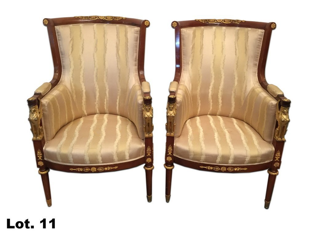 Antique pair of French Empire armchairs