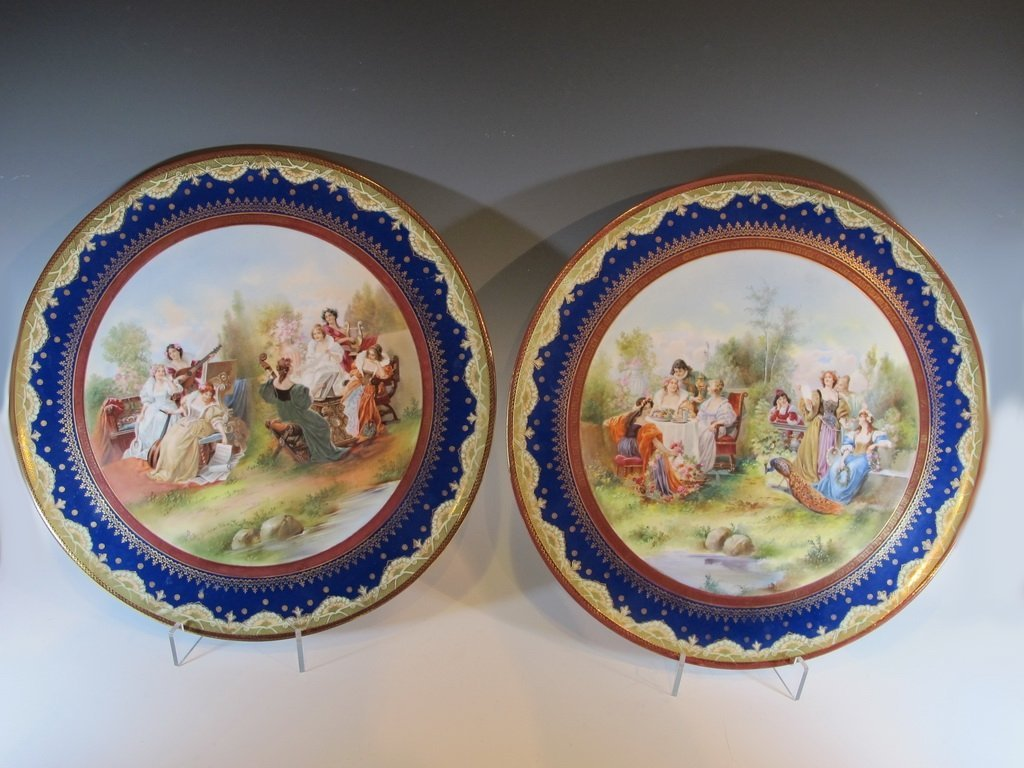 Antique pair of Old Vienna porcelain chargers