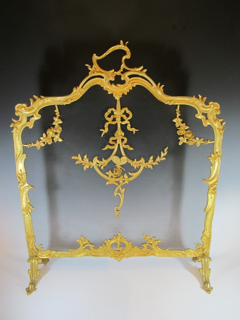 Antique French bronze fireplace screen