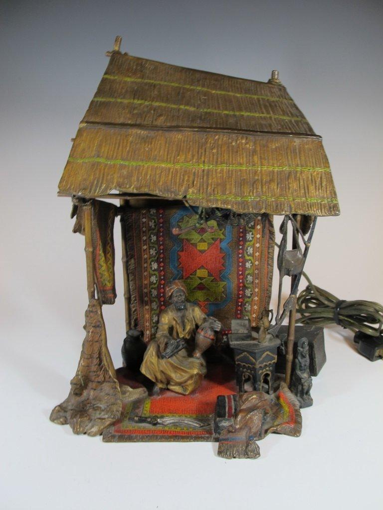 Antique Orientalist Vienna bronze lamp