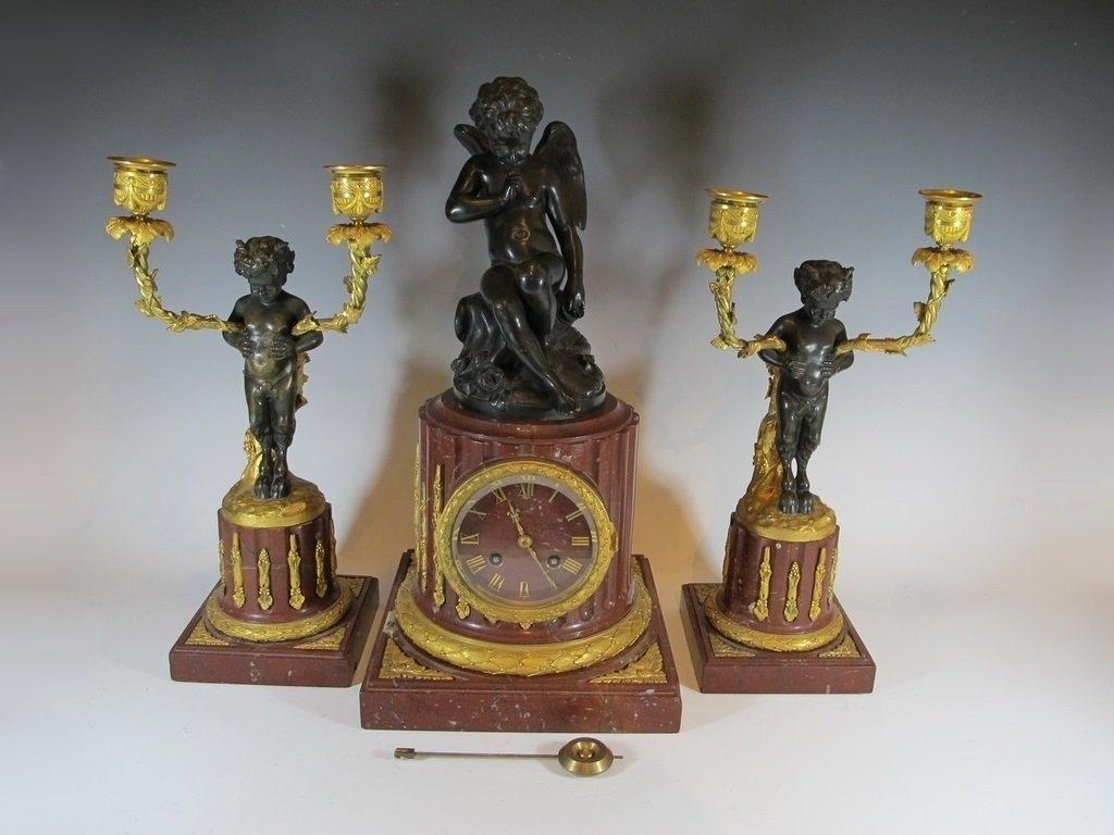19th C French Japy Freres bronze & marble clock set
