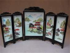 Chinese porcelain  hard stone folding screen