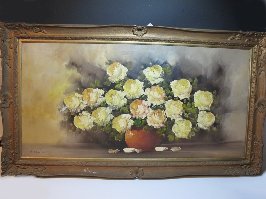 American artist oil on canvas flowers painting