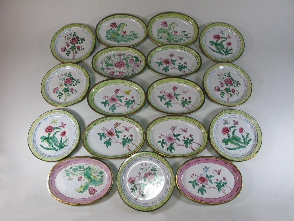 Set of 17 enamel trays