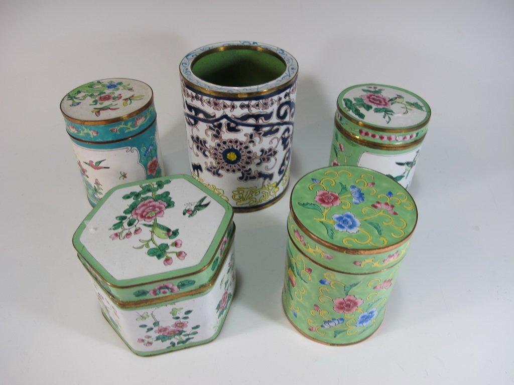 Set of 5 enamel jars