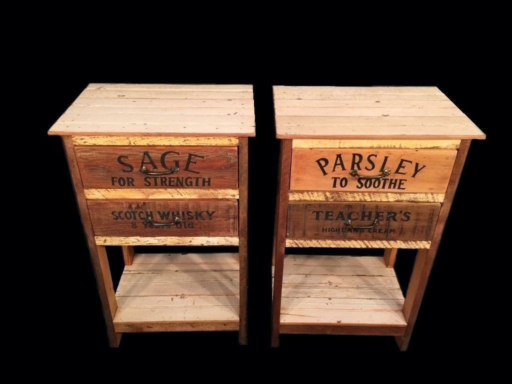 Modern rustic recyclable wood pair of nightstands