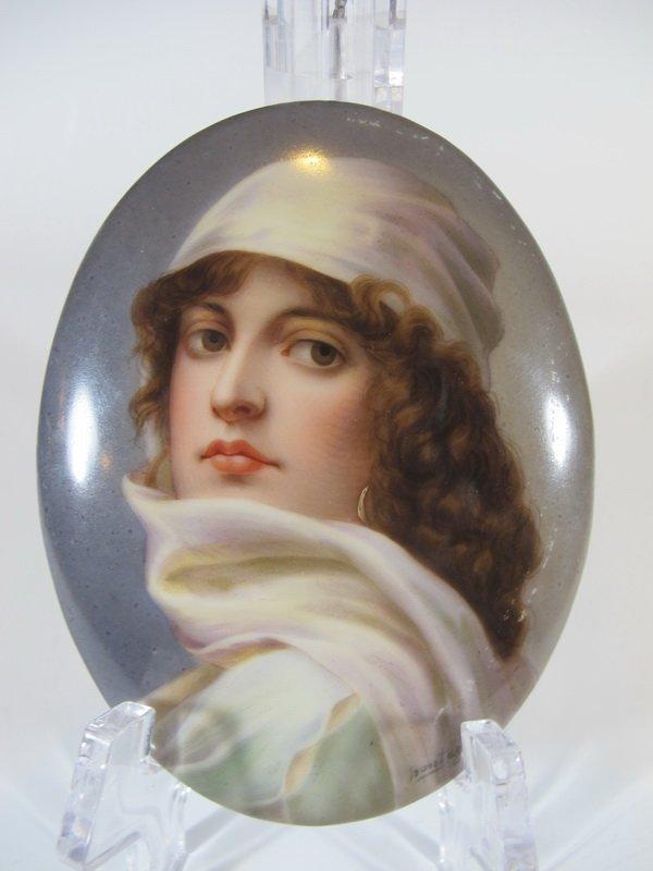 Antique European porcelain plaque, signed