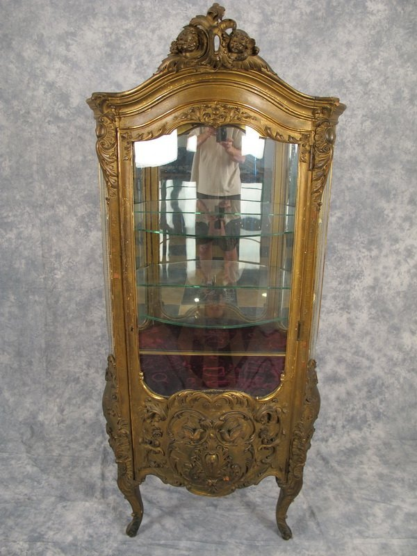 Antique French Louis XV gilt cabinet