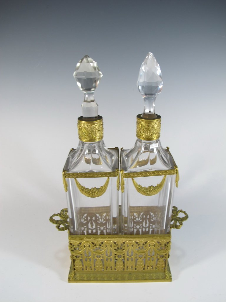 Antique French pair of bronze & glass bottles