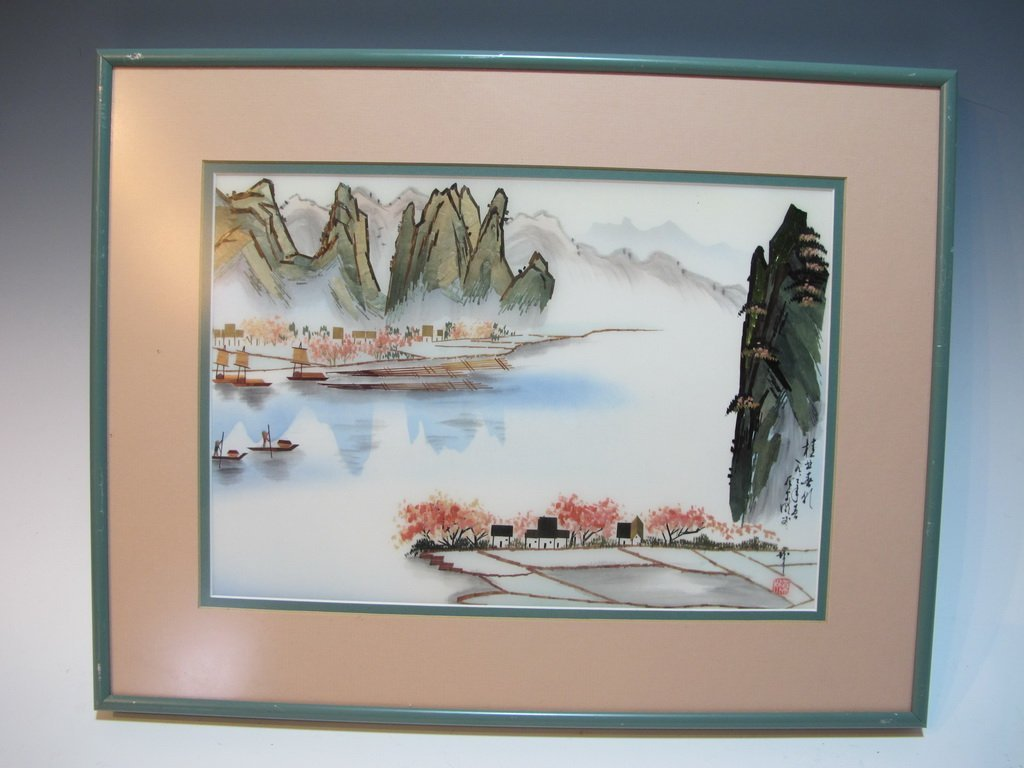 Oriental collage on fabric, signed