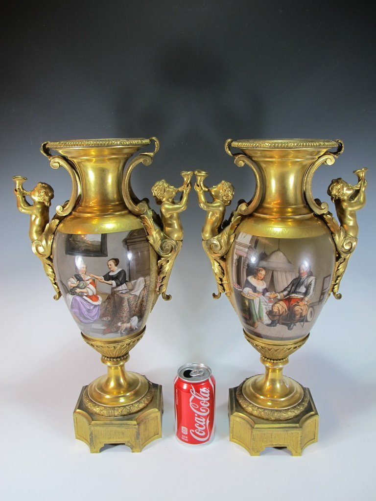 19th C pair of French porcelain & bronze urns