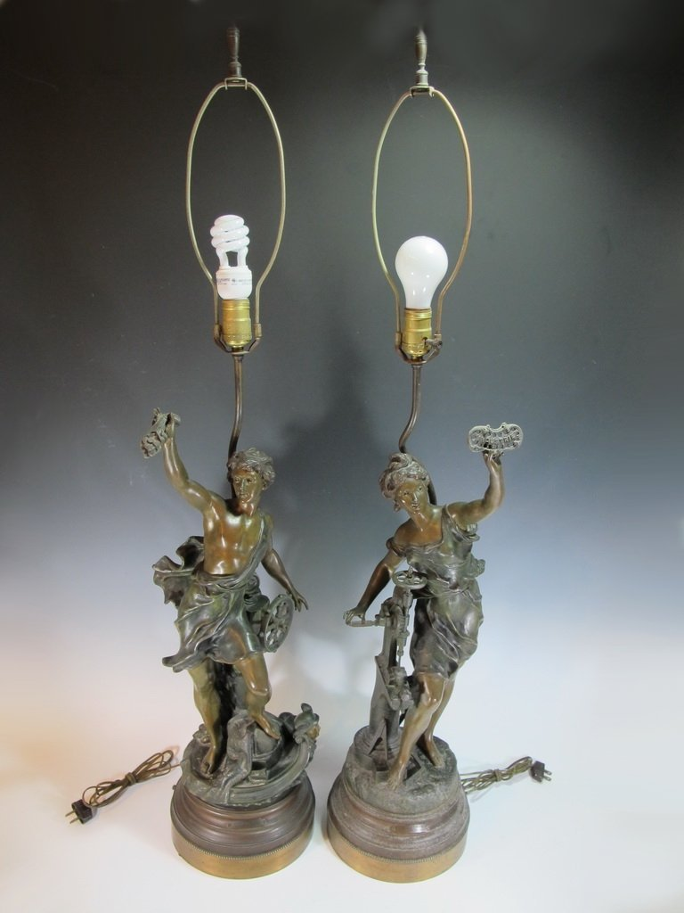 Vintage pair of French spelter lamps signed by LEVY