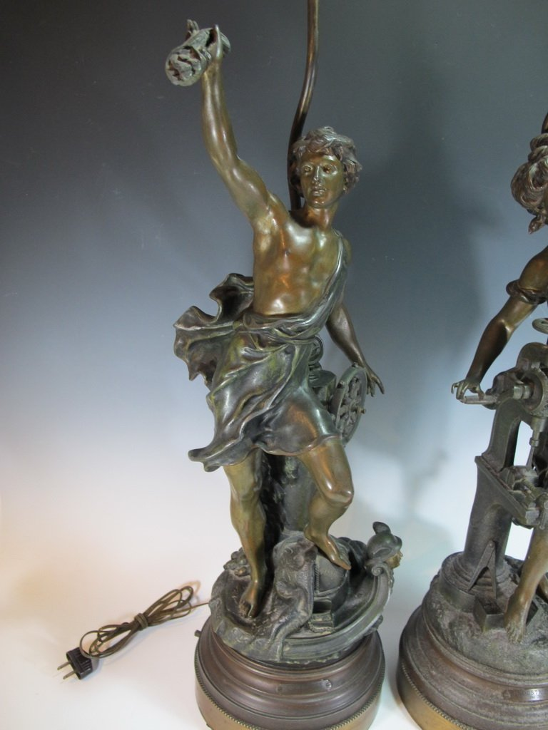 Vintage pair of French spelter lamps signed by LEVY - 2