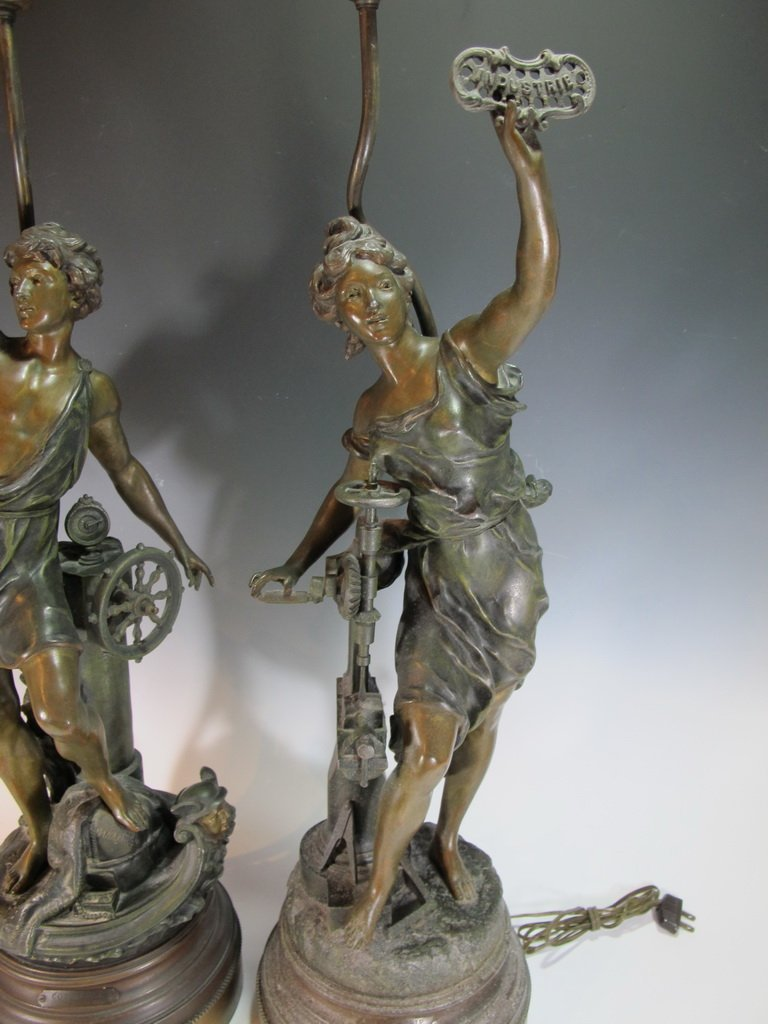 Vintage pair of French spelter lamps signed by LEVY - 3