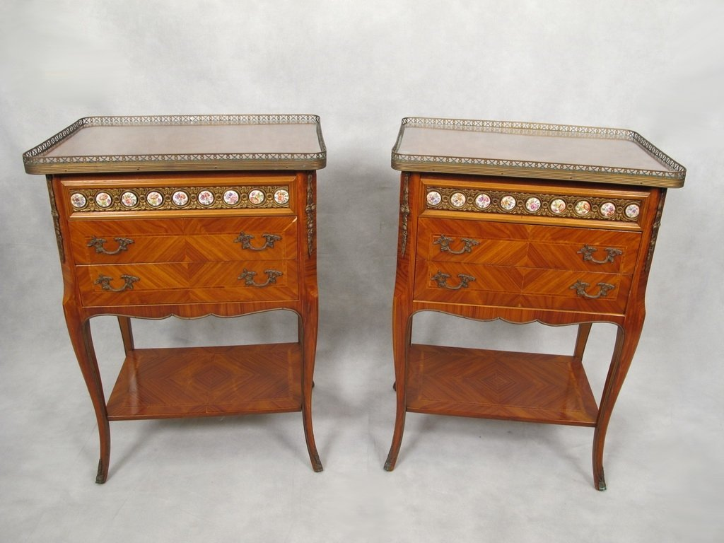 Antique pair of French Louis XV nightstands