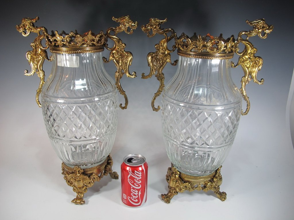 Baccarat style antique pair of glass & bronze vases