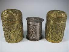Antique set of 3 Chinese Opium bronze boxes