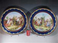 Huge Antique pair of Old Vienna porcelain chargers