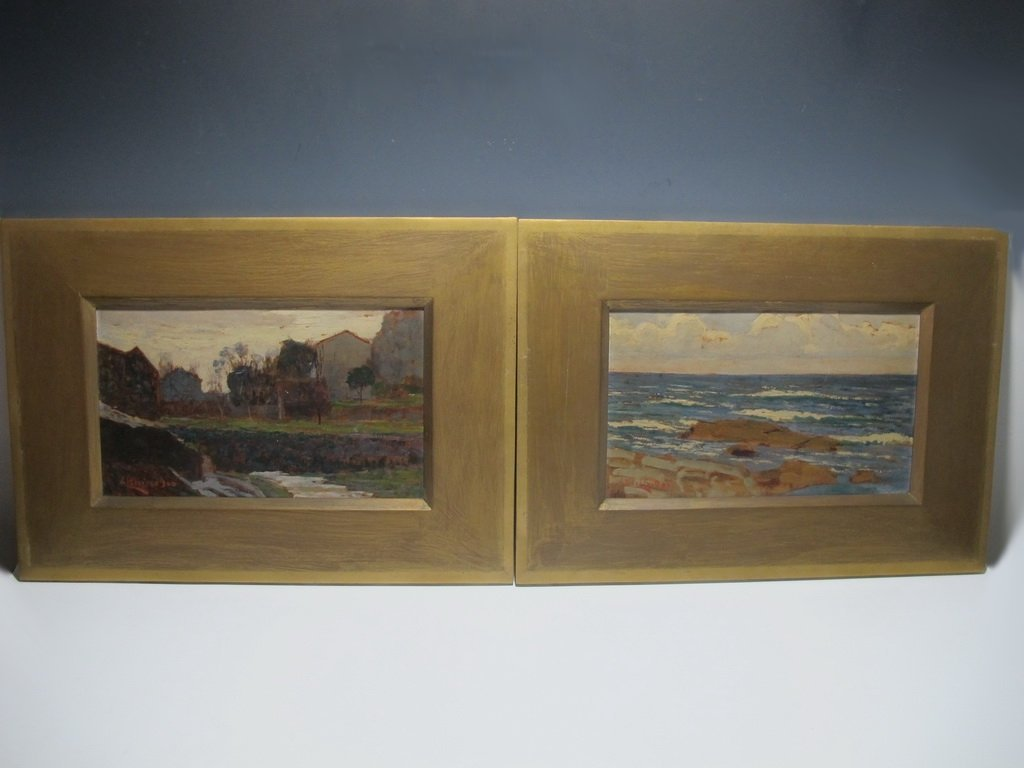 Pair of Oil on Board Paintings Signed A. BERISSO