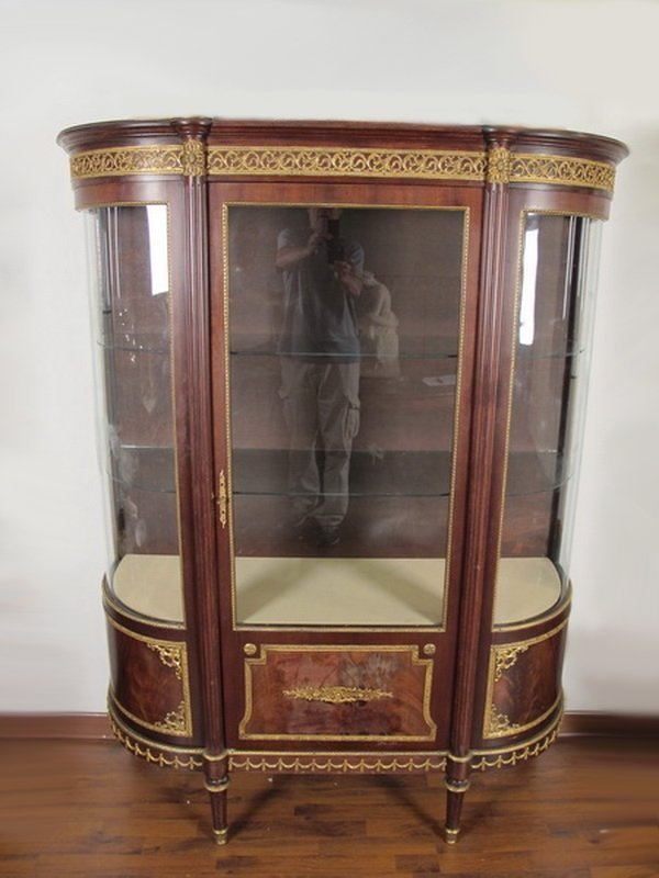French Louis XVI bombe glass display cabinet
