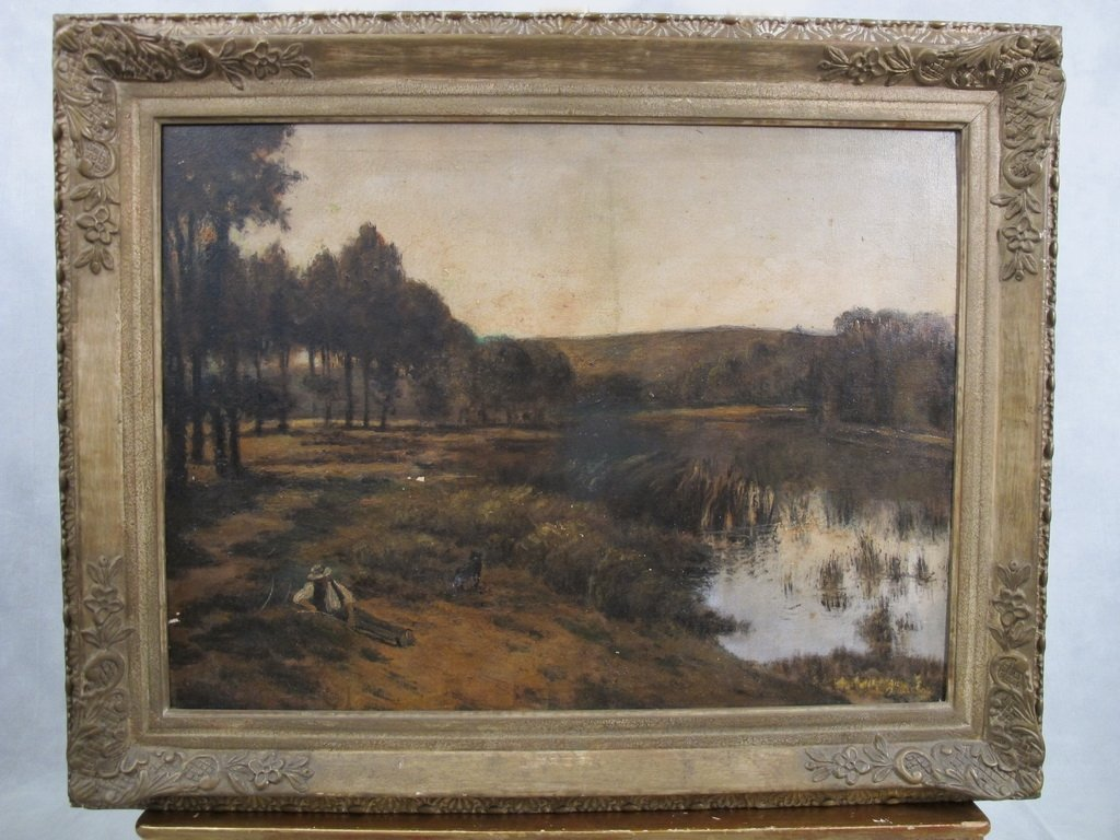 Antique European oil on canvas landscape painting