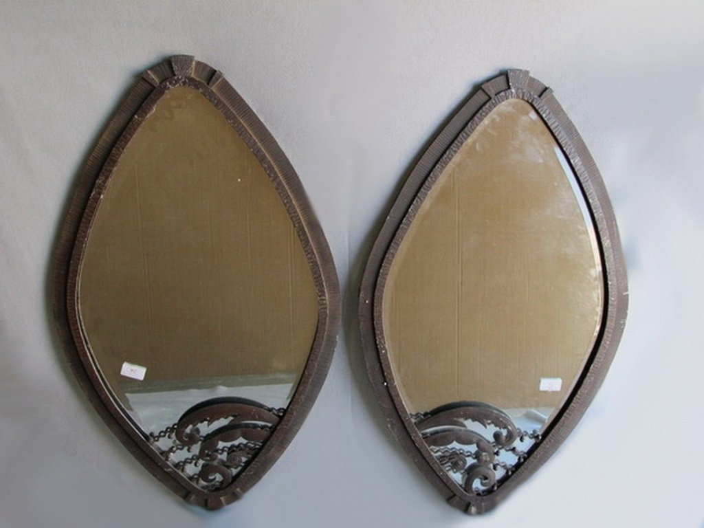 Art Deco pair of iron mirrors