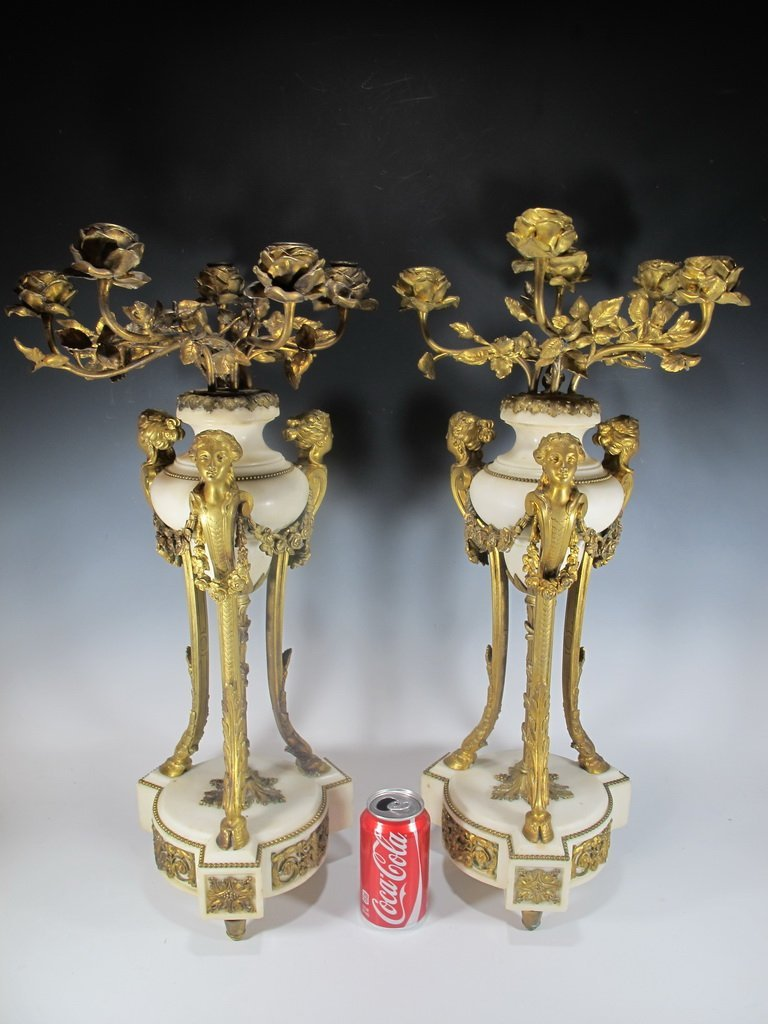 Probably Barbedienne  pair of ormolu & marble
