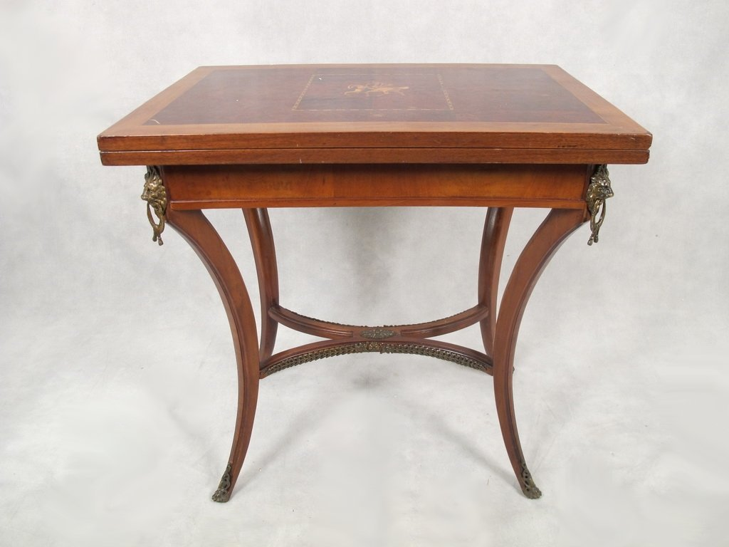 Antique French inlaid game table