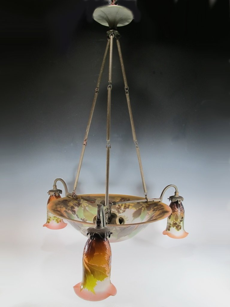 Émile GALLÉ (1846-1904) cameo glass chandelier