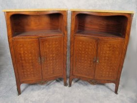 Old Pair Of French Louis Xv Inlaid Cabinets