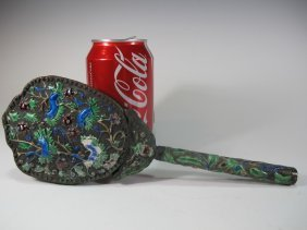 Antique Chinese Silverplate & Enamel Mirror