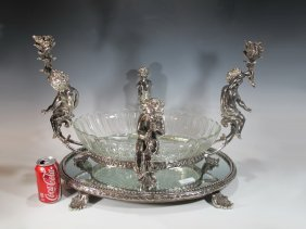 Huge Baccarat Style Silverplated Bronze & Glass Centerp